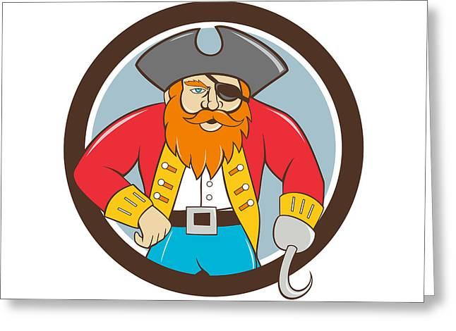 Circle Hook Greeting Cards - Captain Hook Pirate Circle Cartoon Greeting Card by Aloysius Patrimonio