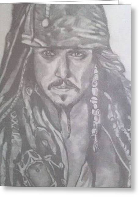 Captain Jack Sparrow Greeting Card by Pauline Murphy