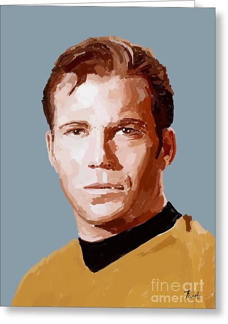 Captain James T Kirk Handmade Portrait Greeting Card by Pablo Franchi