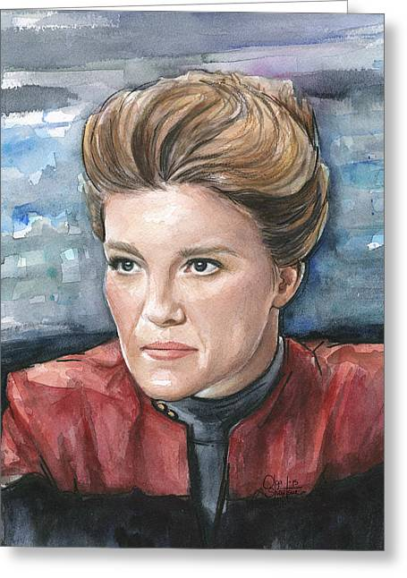 Captain Kathryn Janeway Portrait Greeting Card by Olga Shvartsur
