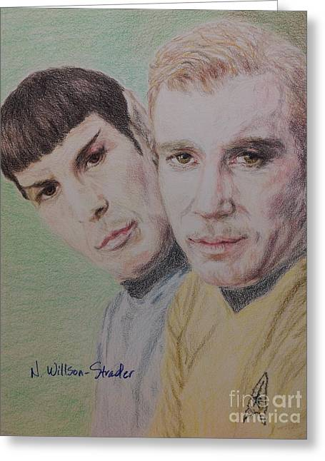 Spock Drawings Greeting Cards - Captain Kirk and First Officer Spock Greeting Card by N Willson-Strader