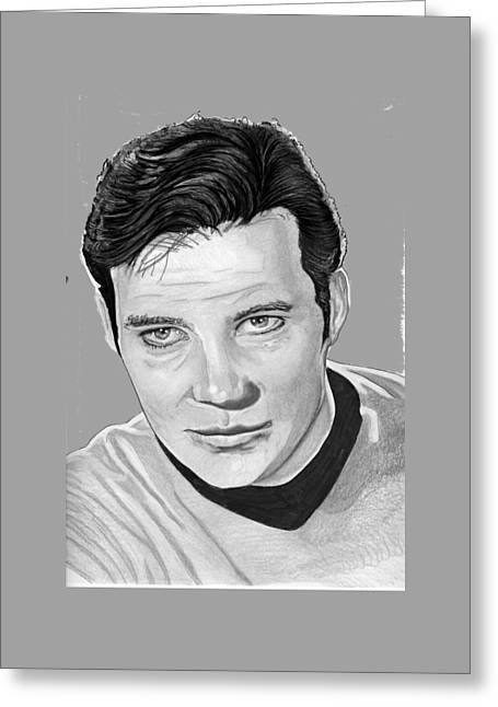 Enterprise Drawings Greeting Cards - Captain Kirk Greeting Card by Bill Richards