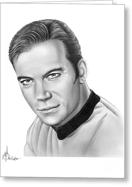 Captain Kirk- William Shatner Greeting Card by Murphy Elliott