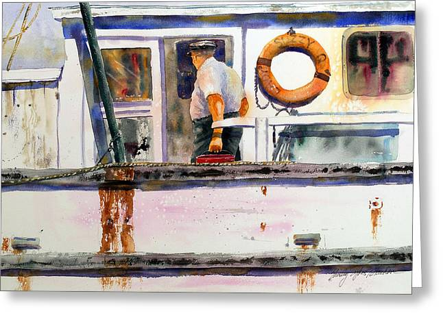 Shrimp Boat Captains Greeting Cards - Captain of the Lady Suzzy Q Greeting Card by Shirley Sykes Bracken