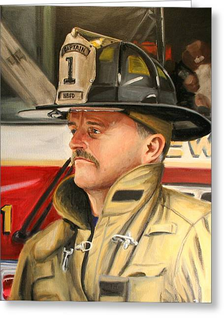 Firefighter Greeting Cards - Captain Greeting Card by Paul Walsh