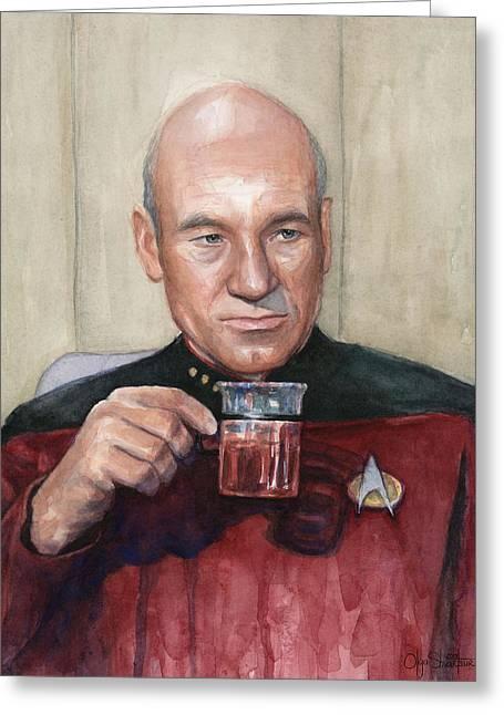 Captain Picard Earl Grey Tea Greeting Card by Olga Shvartsur
