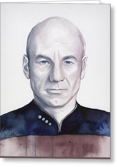 Enterprise Paintings Greeting Cards - Captain Picard Greeting Card by Olga Shvartsur