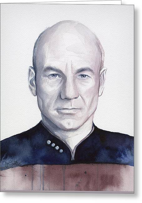 Enterprise Greeting Cards - Captain Picard Greeting Card by Olga Shvartsur
