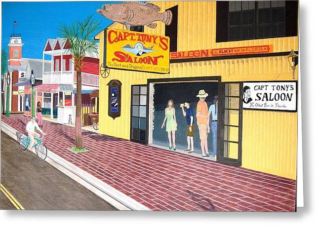 Saloons Drawings Greeting Cards - Captain Tonys Saloon Greeting Card by Josh Goehring