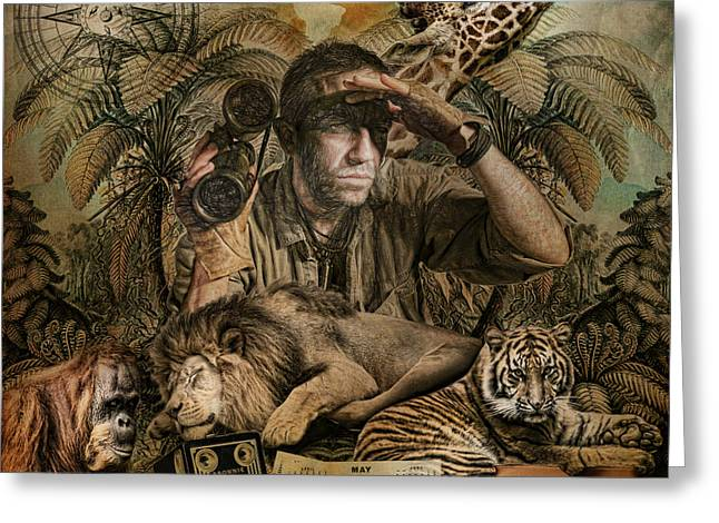 Capt'n Clyde's Safari Adventures Greeting Card by Catherine King
