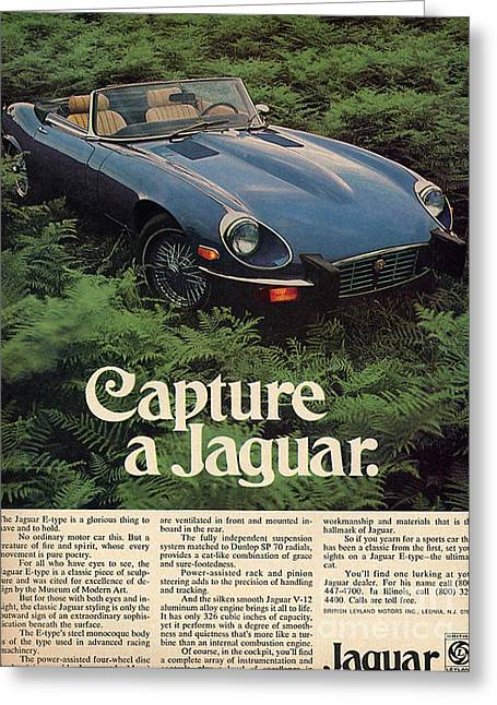 Jaguars Greeting Cards - Capture a Jaguar e type classic stylish advert Greeting Card by R Muirhead Art