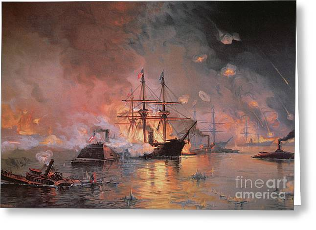 American Fleet Greeting Cards - Capture of New Orleans by Union Flag Officer David G Farragut Greeting Card by Julian Oliver Davidson