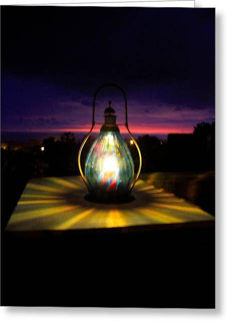 Hurricane Lamp Greeting Cards - Captured Glow  Greeting Card by Kimberly  Reeves