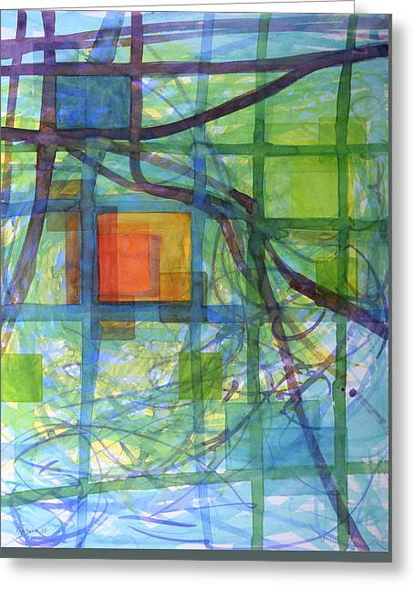 Transparency Geometric Greeting Cards - Captured Squares Greeting Card by Heidi Capitaine