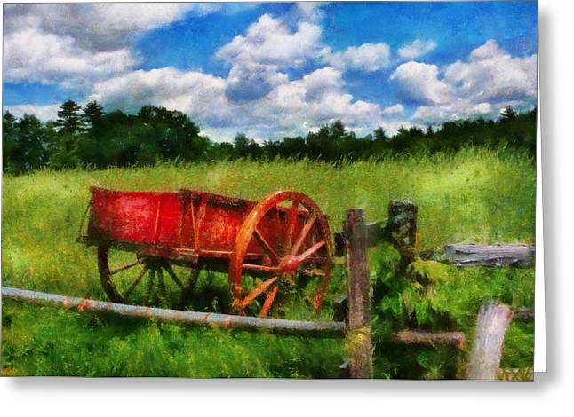 Present For You Greeting Cards - Car - Wagon - The old wagon cart Greeting Card by Mike Savad
