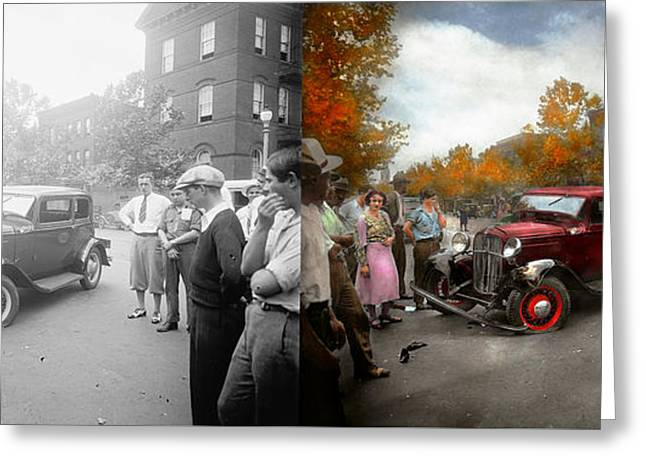 Car - Accident - Late For Tee Time 1932 - Side By Side Greeting Card by Mike Savad