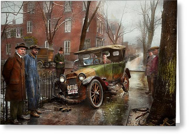 Car Accident - Watch For Ice 1921 Greeting Card by Mike Savad
