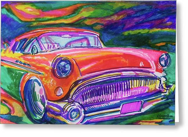 Car and Colorful Greeting Card by Evelyn Sprouse Rowe