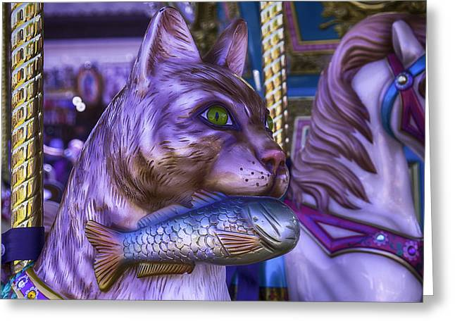 Cat Paw Greeting Cards - Car Carrousel Ride  Greeting Card by Garry Gay