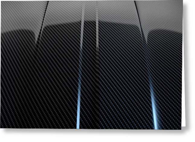 Car Part Greeting Cards - Car Contour Carbon Fibre Greeting Card by Allan Swart