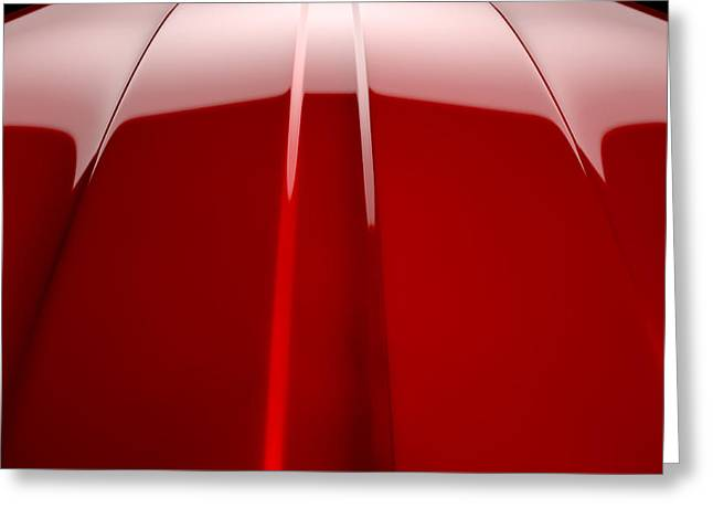 Car Part Greeting Cards - Car Contour Cherry Red Greeting Card by Allan Swart
