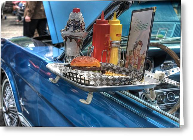 French Fries Greeting Cards - Car Hop Route 66 Greeting Card by Jane Linders