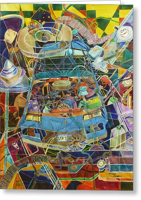 Car Part Paintings Greeting Cards - Car of Many Colors Greeting Card by Karen Merry