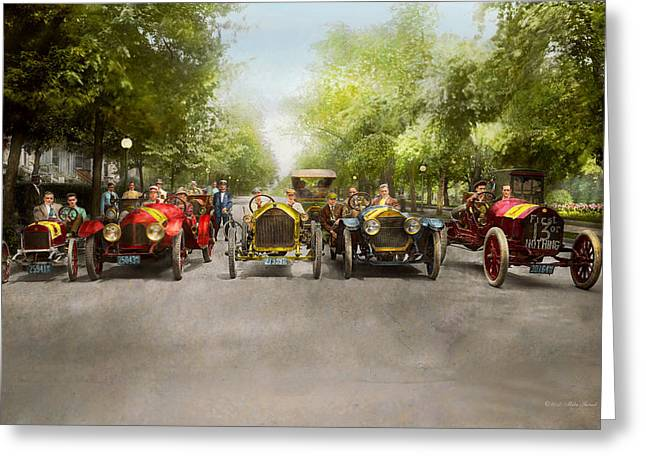 Car - Race - Hold On To Your Hats 1915 Greeting Card by Mike Savad