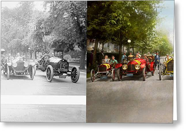 Car - Race - Hold On To Your Hats 1915 - Side By Side Greeting Card by Mike Savad