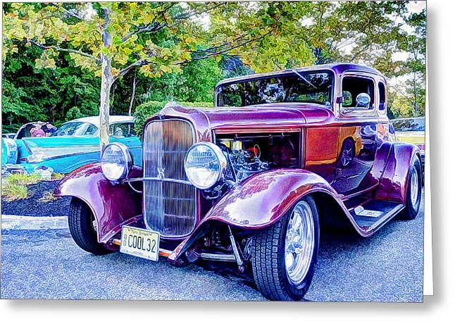 Paint Photograph Greeting Cards - Car Show Classic Cars Greeting Card by Geraldine Scull