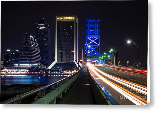 Jacksonville Greeting Cards - Car Trails on Main Street Bridge - Jacksonville Florida Greeting Card by Dawna  Moore Photography