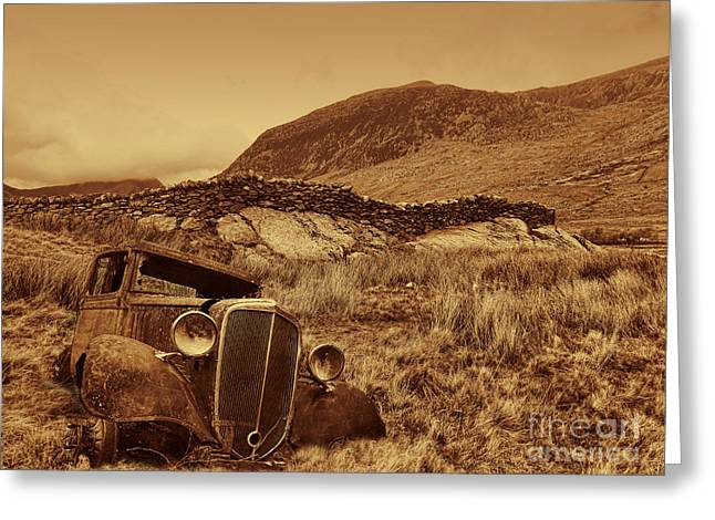 Chris Evans Greeting Cards - Car wreck on the landscape Greeting Card by Chris Evans