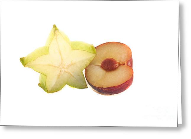 Watermelon Greeting Cards - Carambola and plum Greeting Card by Daniel Ronneberg