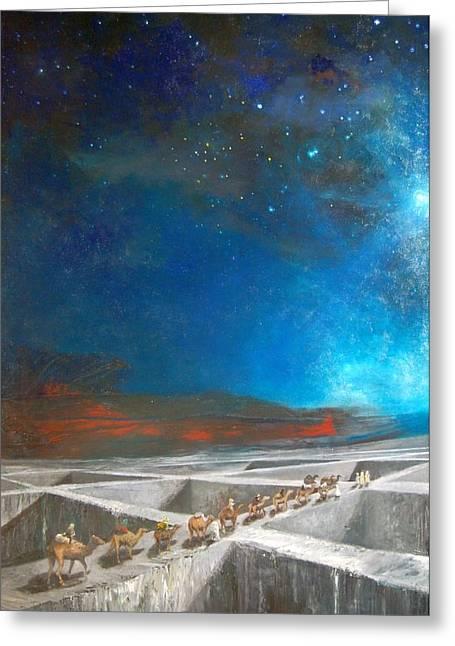 Star Of Bethlehem Greeting Cards - Caravan of the Three Kings. Greeting Card by Michael Kuehne