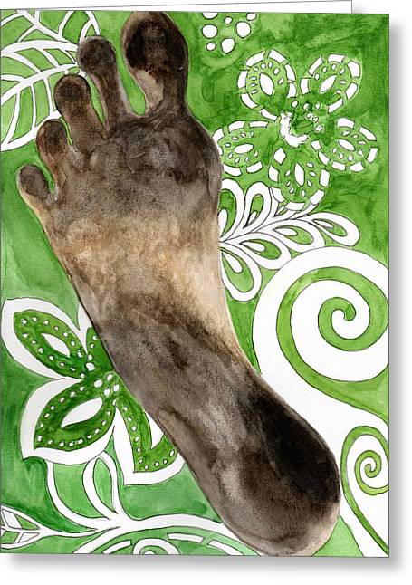 Footprint Greeting Cards - Carbon Footprint Greeting Card by Caprice Scott