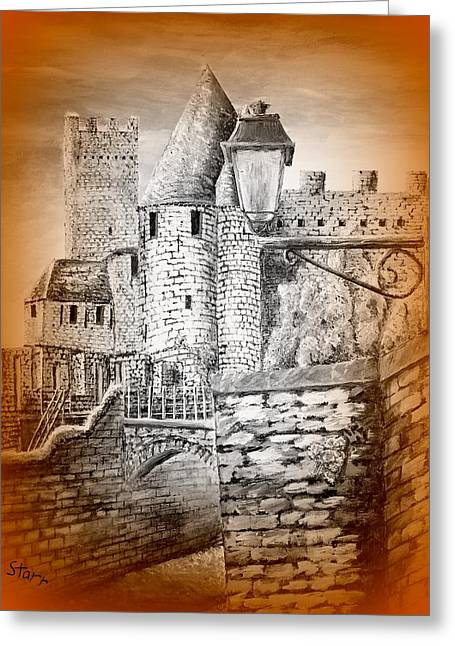 Take Over Greeting Cards - Carcassonne Castle France In Gold Greeting Card by Irving Starr