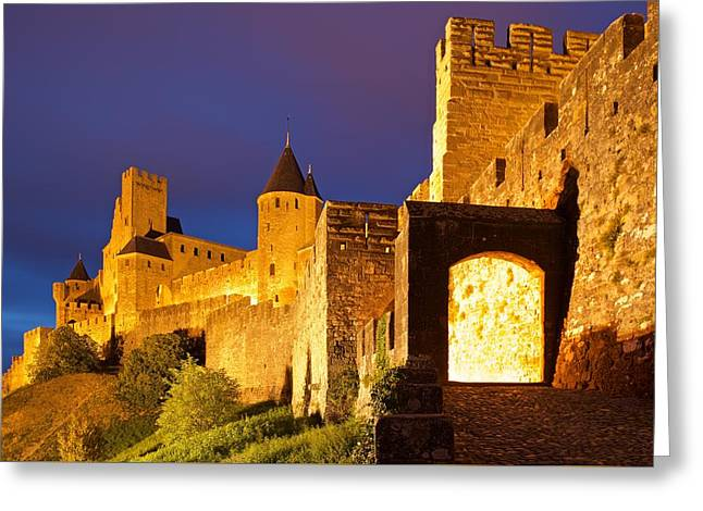 Languedoc Digital Greeting Cards - Carcassonne city walls Greeting Card by Stephen Taylor