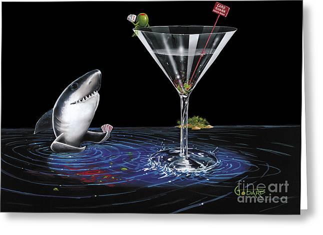 Card Shark Greeting Card by Michael Godard