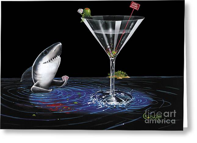 Counter Greeting Cards - Card Shark Greeting Card by Michael Godard