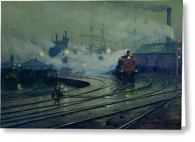 Masted Ships Greeting Cards - Cardiff Docks Greeting Card by Lionel Walden