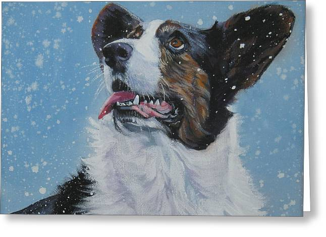 Christmas Dogs Greeting Cards - Cardigan Welsh Corgi in snow Greeting Card by Lee Ann Shepard