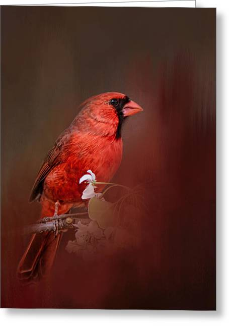 Birds With Flowers Greeting Cards - Cardinal In Antique Red Greeting Card by Jai Johnson