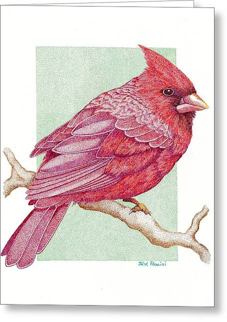 Pointillism Drawings Greeting Cards - Cardinal Greeting Card by Jack Puglisi