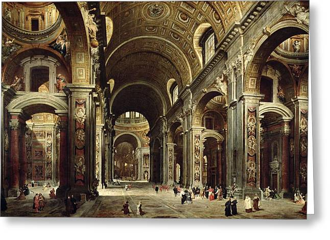 Vault Greeting Cards - Cardinal Melchior de Polignac Visiting St Peters in Rome Greeting Card by Giovanni Paolo Pannini or Panini