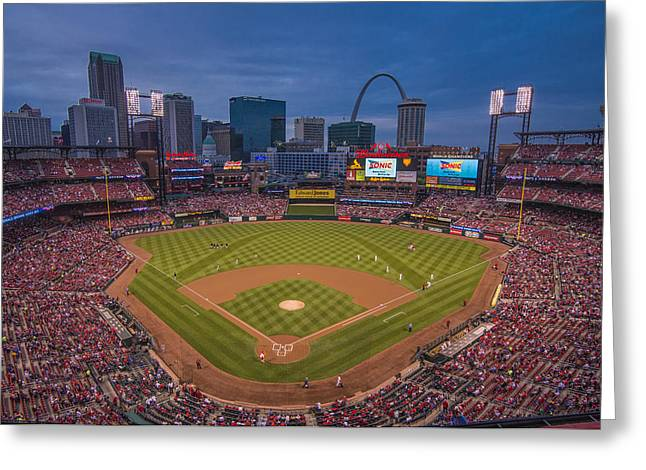 Boys Of Summer Greeting Cards - Cardinal Nation Busch Stadium St. Louis Cardinals Twilight 2015 Greeting Card by David Haskett