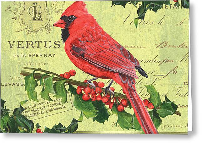 Berry Paintings Greeting Cards - Cardinal Peace Greeting Card by Debbie DeWitt