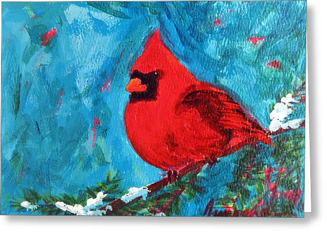Cardinal Red Bird Watercolor Modern Art Greeting Card by Patricia Awapara