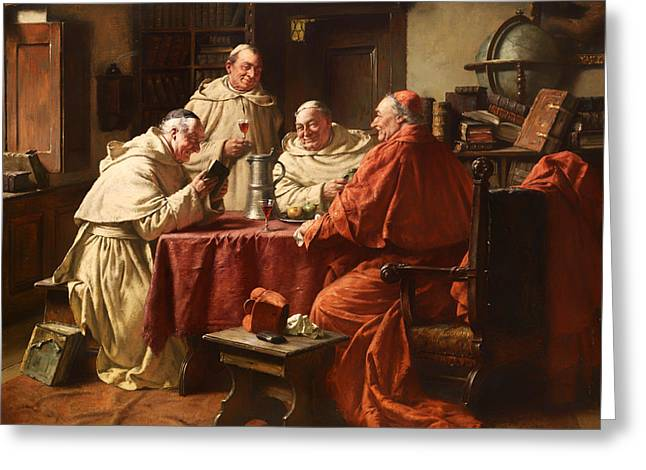 Catholic work Paintings Greeting Cards - Cardinal With Monks In A Monastery Library Greeting Card by Fritz Wagner
