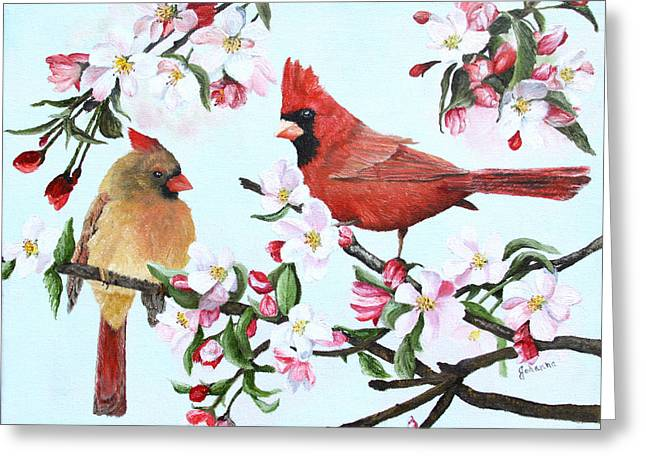 Cardinals And Apple Blossoms Greeting Card by Johanna Lerwick