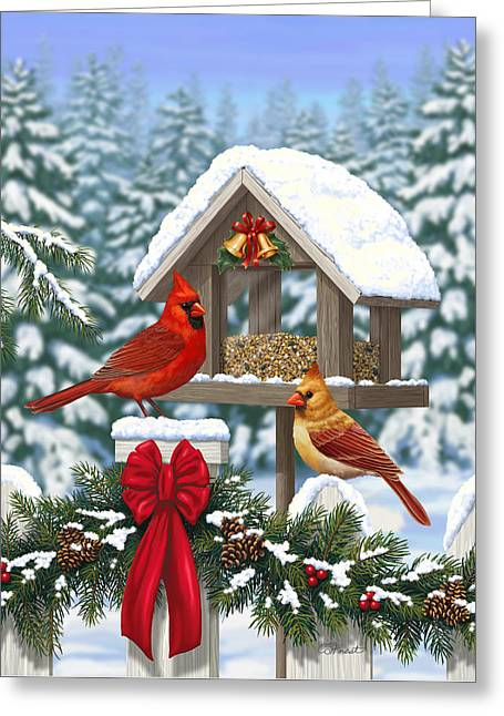 Bird-feeder Greeting Cards - Cardinals Christmas Feast Greeting Card by Crista Forest